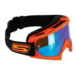 S-LINE - Masque Moto Cross ECO Orange Bleu Iridium Taille Unique