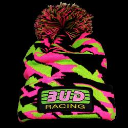 BUD RACING - Bonnet Pompon Rose Vert Taille Unique