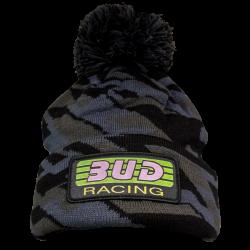 BUD RACING - Bonnet Pompon Gris Noir Taille Unique