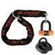 BLOKEO - Kit Antivol Moto Chaîne 1,20M + Cadenas/Bloque-Disque MiniBlok + Ancre Fixation Sol - Classe SRA