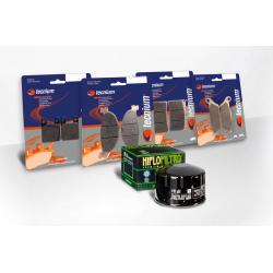 BIHR - Pack Entretien Compatible Yamaha Mt-07 2014 2014 (Filtres Air Et Huile + Plaquettes Avant Et Ar)
