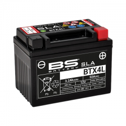 BS BATTERY - Batterie Moto 12V Sans Entretien activée usine Activée Usine BTX4L SLA - 3Ah - L71Mm W114Mm H86Mm