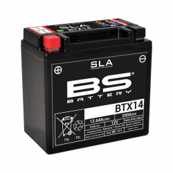 BS BATTERY - Batterie Moto 12V Sans Entretien activée usine BTX14 SLA -12Ah - L87Mm W150Mm H145Mm