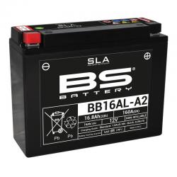 BS BATTERY - Batterie Moto 12V Sans Entretien activée usine BB16AL-A2 SLA - 16Ah - L70Mm W205Mm H162Mm