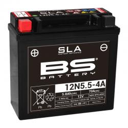 BS BATTERY - Batterie Moto 12V Sans Entretien activée usine 12N5.5-4A SLA - 5,5Ah - L61Mm W138Mm H131Mm