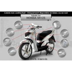 S-LINE - Kit Carrosserie Sh125/150 Noir Kit Carrosserie Extérieur Compatible Honda Sh125/150 Jusqu'À 2008