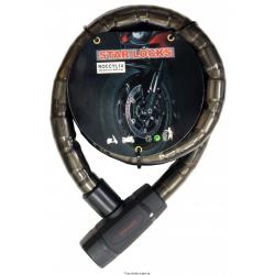 STAR LOCK - Câble Articulé Antivol Ø22mm x 1,5m Couleur fumé Moto Vélo Scooter