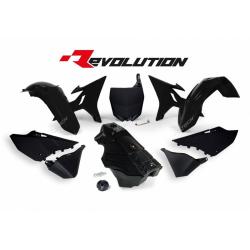 RACETECH - Kit Plastique + Réservoir Rtech Revolution Compatible Yamaha 125 250 Yz 02-17 / Black Noir