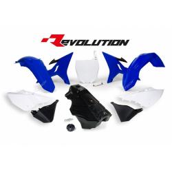 RACETECH - Kit Plastique + Réservoir Rtech Revolution Compatible Yamaha 125 250 Yz 02-17 / Blue White Black Bleu Blanc Noir