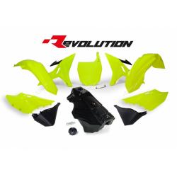 RACETECH - Kit Plastique + Réservoir Rtech Revolution Compatible Yamaha 125 250 Yz 02-17 / Yellow Jaune Fluo