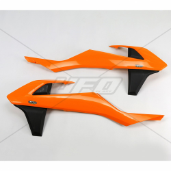 DESTOCKAGE - UFO - Ouïes Radiateur Orange Noir Compatible Ktm 125 250 350 450 Sx Sxf 16-18 + Exc Excf 17-18