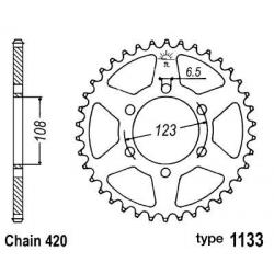 B1 - Couronne Acier 53 Dents Chaine 420 Compatible Derbi/Compatible Aprilia/Compatible Peugeot