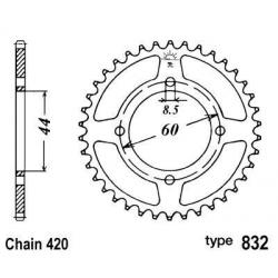 B1 - Couronne Acier 52 Dents Chaine 420 Compatible Yamaha Dt50R - Compatible Mbk X-Limit