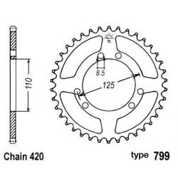 B1 - Couronne Acier 50 Dents Chaine 420 Compatible Suzuki Rmx50