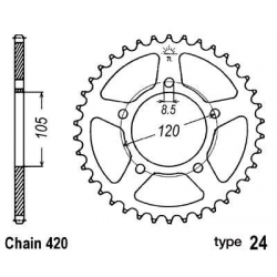B1 - Couronne Acier 51 Dents Chaine 420 Compatible Aprilia Rx50