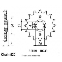SIFAM - Pignon Acier 12 dents Honda 125 Cr 1979-1985