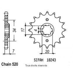 SIFAM - Pignon Acier 14 dents Honda 125 Cr 1979-1985