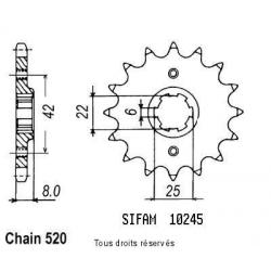 SIFAM - Pignon Acier 14 dents Xls 500 79-81 Xl 250 R Prolink 83-88