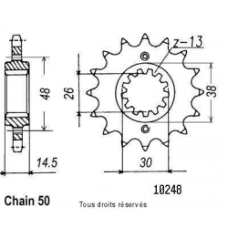 SIFAM - Pignon Acier 16 dents Cbx 750 F 84-86 Vfr 750 R 86-89