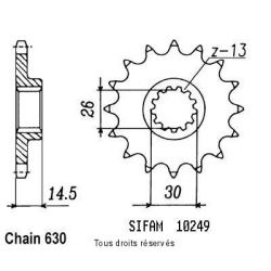 SIFAM - Pignon Acier 15 dents Cbx 1000 Z 79-80
