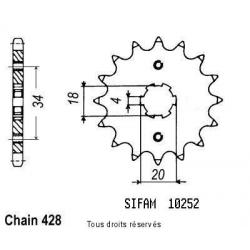 SIFAM - Pignon Acier 13 dents Cg 125 Brésil 85-98