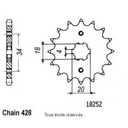 SIFAM - Pignon Acier 15 dents Cm 125 Custom 82-99 Mtx 125 93-94