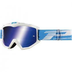 PRO GRIP - Masque Moto Cross 3201 Atzaki blanc écran miroir bleu